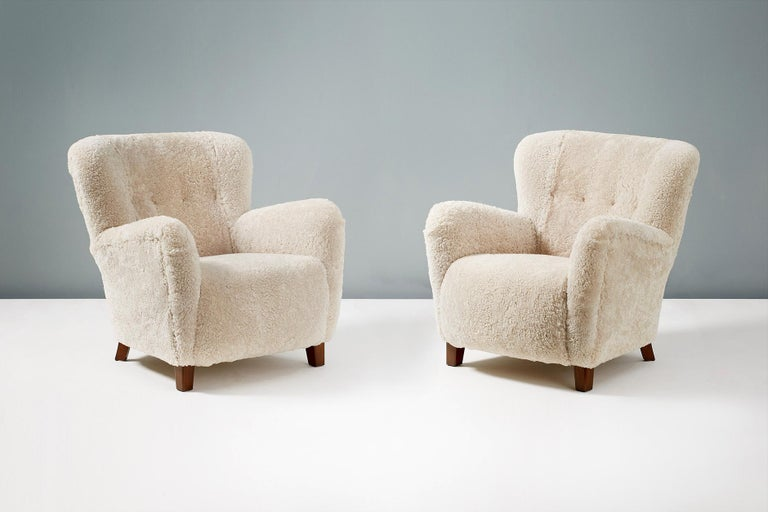 Pair of Fritz Hansen 1940s Sheepskin Armchairs 1