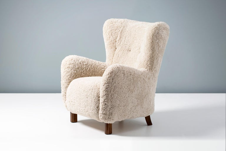 Pair of Fritz Hansen 1940s Sheepskin Armchairs For Sale 1
