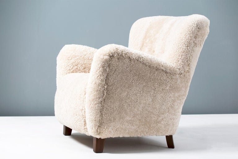 Pair of Fritz Hansen 1940s Sheepskin Armchairs 2
