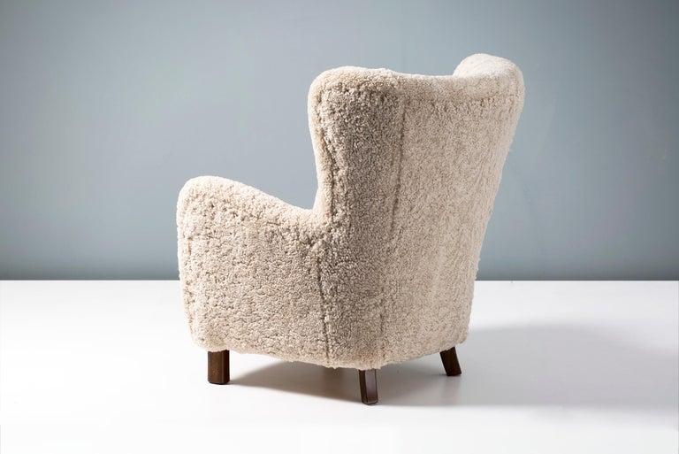 Pair of Fritz Hansen 1940s Sheepskin Armchairs For Sale 3