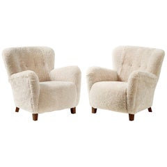 Pair of Fritz Hansen 1940s Sheepskin Armchairs
