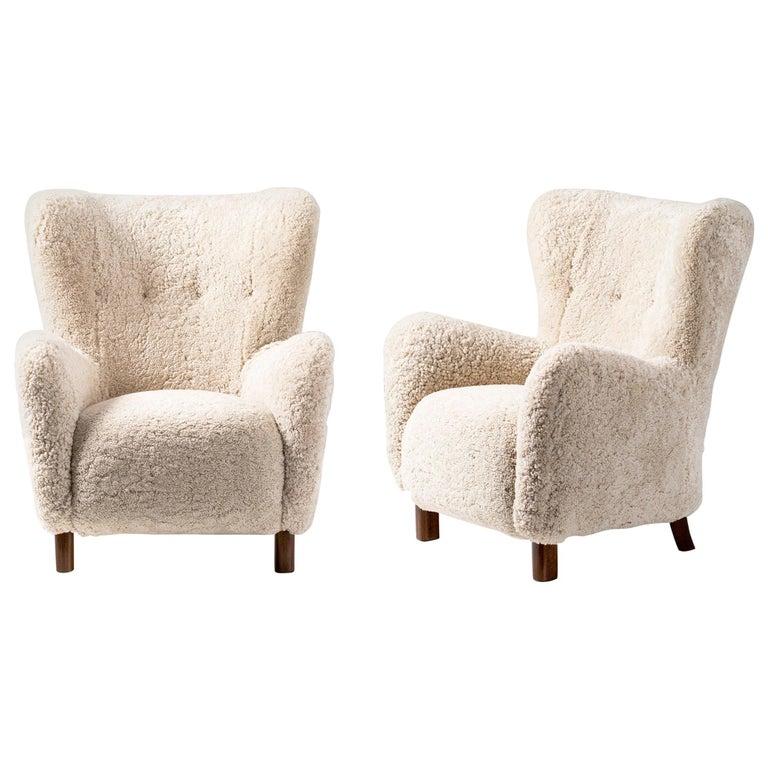 Pair of Fritz Hansen 1940s Sheepskin Armchairs For Sale