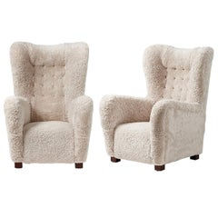 Pair of Fritz Hansen 1940s Sheepskin Wing Chairs