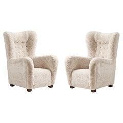 Pair of Fritz Hansen 1940s Sheepskin Wing Chairs