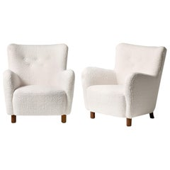 Pair of Custom Made Boucle Armchairs