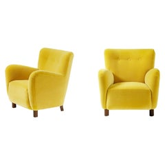 Pair of Fritz Hansen 1950s Mohair Velvet Armchairs