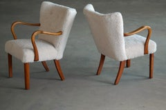 Pair of Fritz Hansen attributed Danish Easy Chairs Covered in Lambswool 1950.
