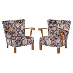 Pair of Fritz Hansen Attributed Danish Easy Lounge or Club Chairs, 1940s