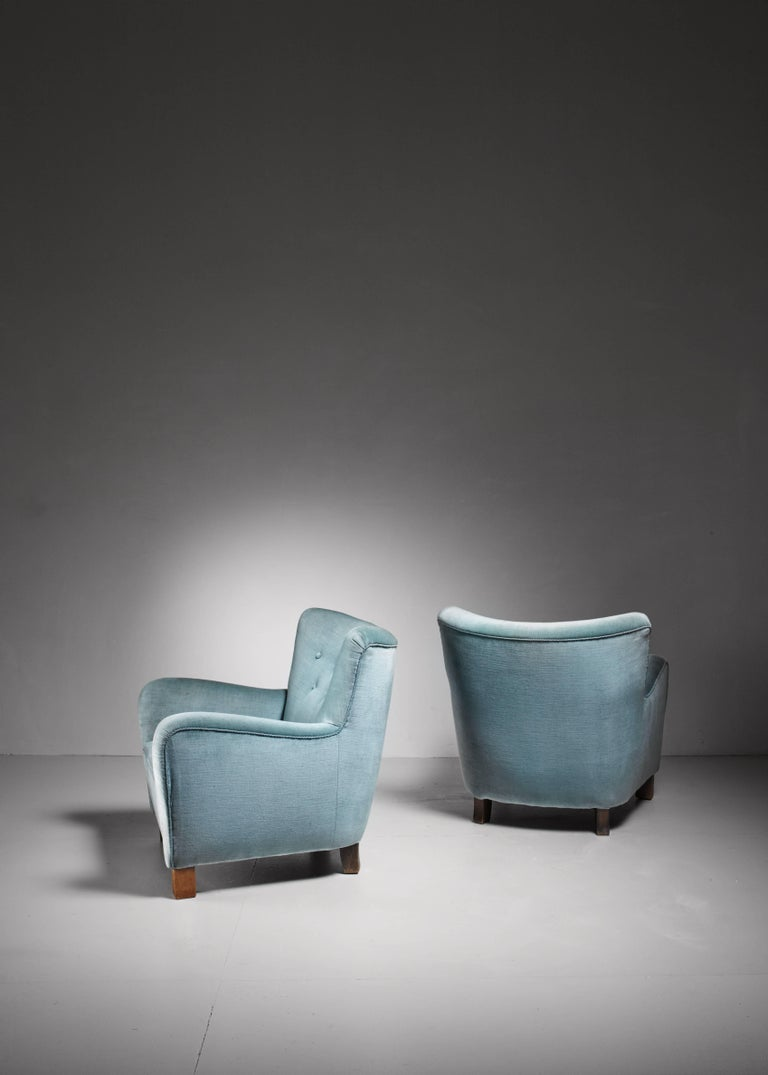 Danish Pair of Fritz Hansen Lounge Chairs, Denmark, 1940s For Sale
