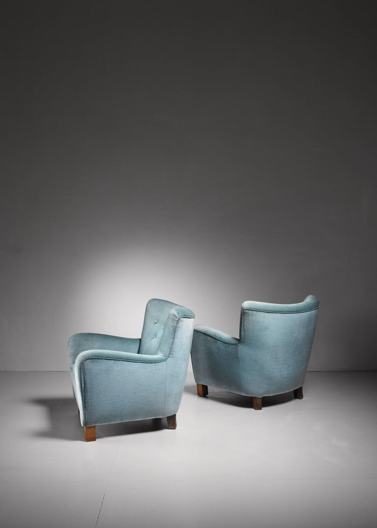 Pair of Fritz Hansen Lounge Chairs, Denmark, 1940s In Good Condition For Sale In Maastricht, NL