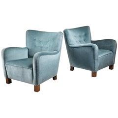 Pair of Fritz Hansen Lounge Chairs, Denmark, 1940s