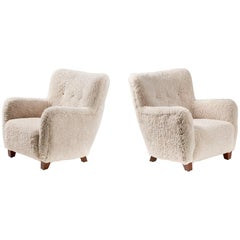 Pair of Fritz Hansen Style 1950s Sheepskin Armchairs