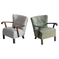 Pair of Fritz Hansen Style Danish Easy Lounge or Club Chairs, 1940s