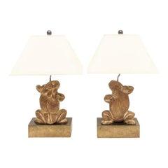 Pair of Frog Motif Table Lamps