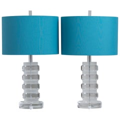 Pair of Frosted and Clear Lucite Stacked Table Lamps, 1970s