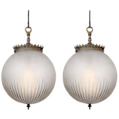 Pair of Frosted Cut Glass Globe Pendents