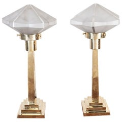 Pair of Frosted Glass and Brass Table Lamps, Late 1970s
