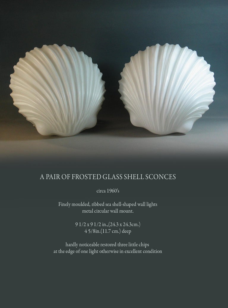 A pair of frosted glass shell wall sconces, circa 1960s.  Finely moulded, ribbed sea shell-shaped wall lights metal circular wall mount.  Measures: 9 1/2 x 9 1/2 in., (24.3 x 24.3 cm.) 4 5/8in. (11.7 cm.) deep.  Hardly noticeable restored three