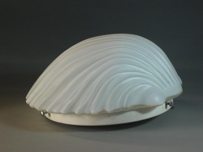 American Pair of Frosted Glass Shell Mid Century Wall Sconces For Sale
