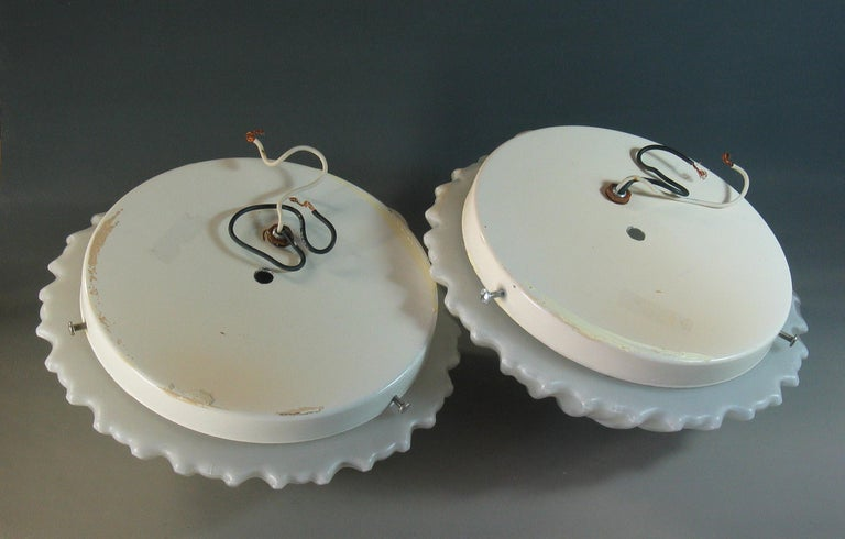 Pair of Frosted Glass Shell Mid Century Wall Sconces For Sale 1