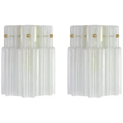 Pair of Frosted Glass Wall Lights by Limburg, Germany, 1960s