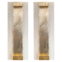 Pair of Frosted Glass Wave Panel Sconces