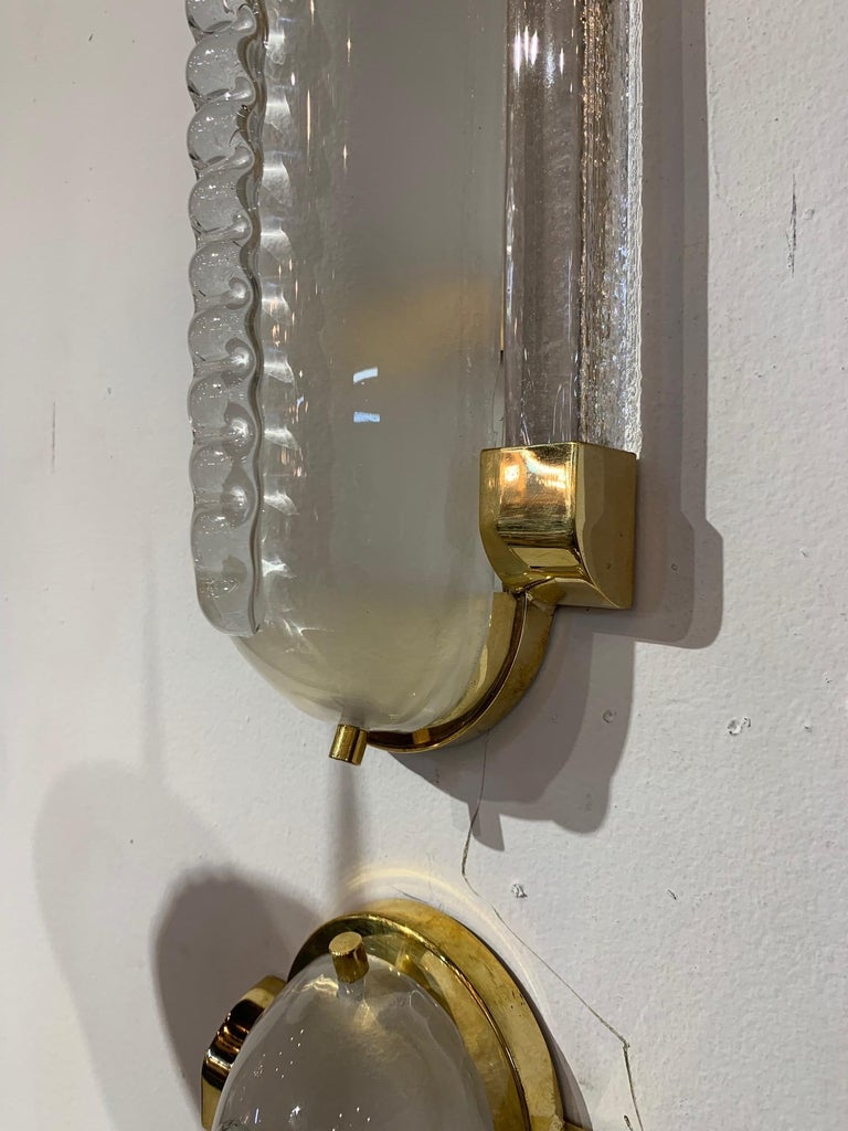 Pair of Frosted Murano Glass and Brass Modern Sconces In Good Condition For Sale In Dallas, TX