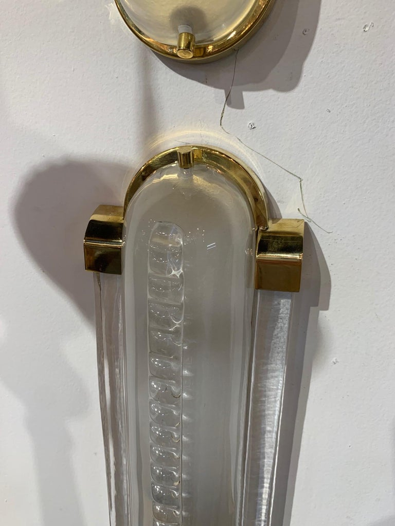 Contemporary Pair of Frosted Murano Glass and Brass Modern Sconces For Sale