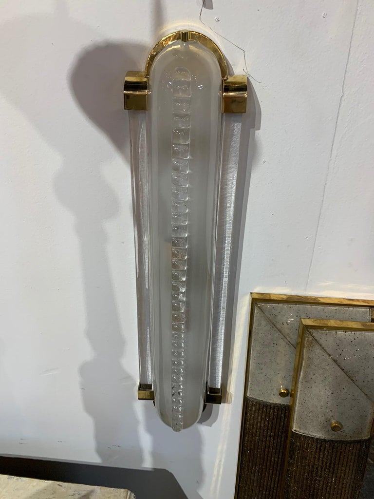 Pair of Frosted Murano Glass and Brass Modern Sconces For Sale 1