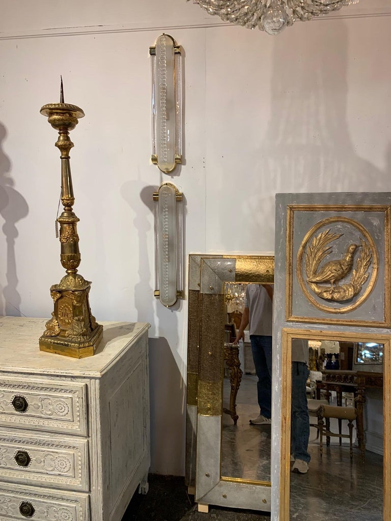 Pair of Frosted Murano Glass and Brass Modern Sconces For Sale 2
