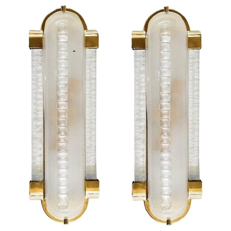 Pair of Frosted Murano Glass and Brass Modern Sconces For Sale