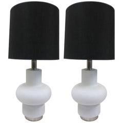 Pair of Frosted Murano Glass Lamps