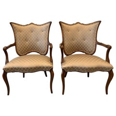 Pair of Fruit Wood Fan Back Armchairs