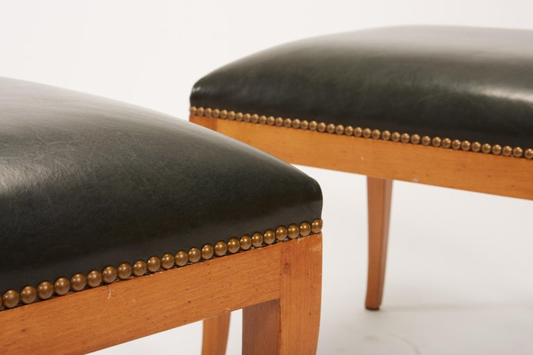 Unknown Pair of Fruitwood Biedermeier Style Ottomans with Leather and Brass Tacks For Sale