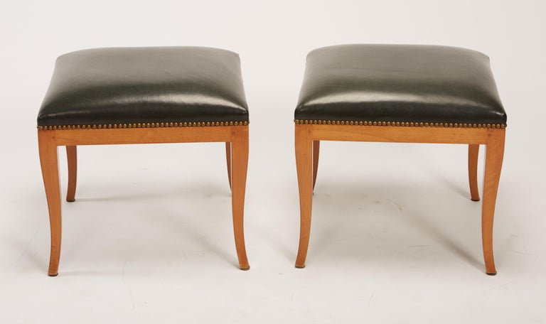 Pair of Fruitwood Biedermeier Style Ottomans with Leather and Brass Tacks In Good Condition For Sale In St. Louis, MO