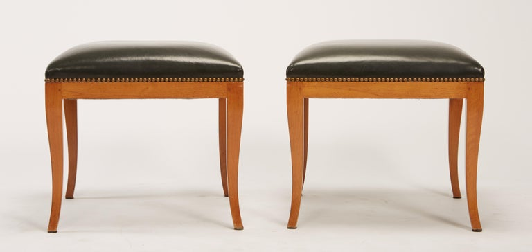 19th Century Pair of Fruitwood Biedermeier Style Ottomans with Leather and Brass Tacks For Sale
