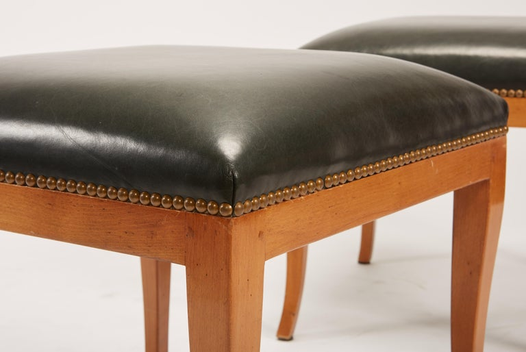 Pair of Fruitwood Biedermeier Style Ottomans with Leather and Brass Tacks For Sale 3