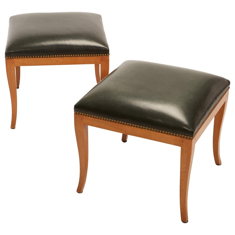 Pair of Fruitwood Biedermeier Style Ottomans with Leather and Brass Tacks For Sale