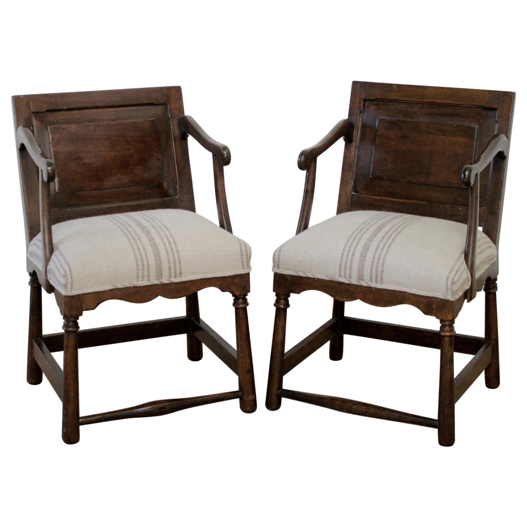 Pair of Fruitwood Carved and Upholstered Armchairs