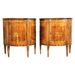 Pair of Painted Fruitwood Demilune Cabinets by Imperial of Grand Rapids