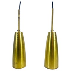 Pair of Full Brass Mid-Century Modern Pendant Lamps, 1950s, Germany