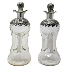 Pair of Full Lead Crystal Hallmark Sterling Silver Spirits Wine Decanters, 1899