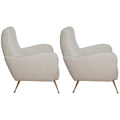 Pair of Fully Restored 1950s Italian Lounge Chairs in Luxe Metal Infused Fabric