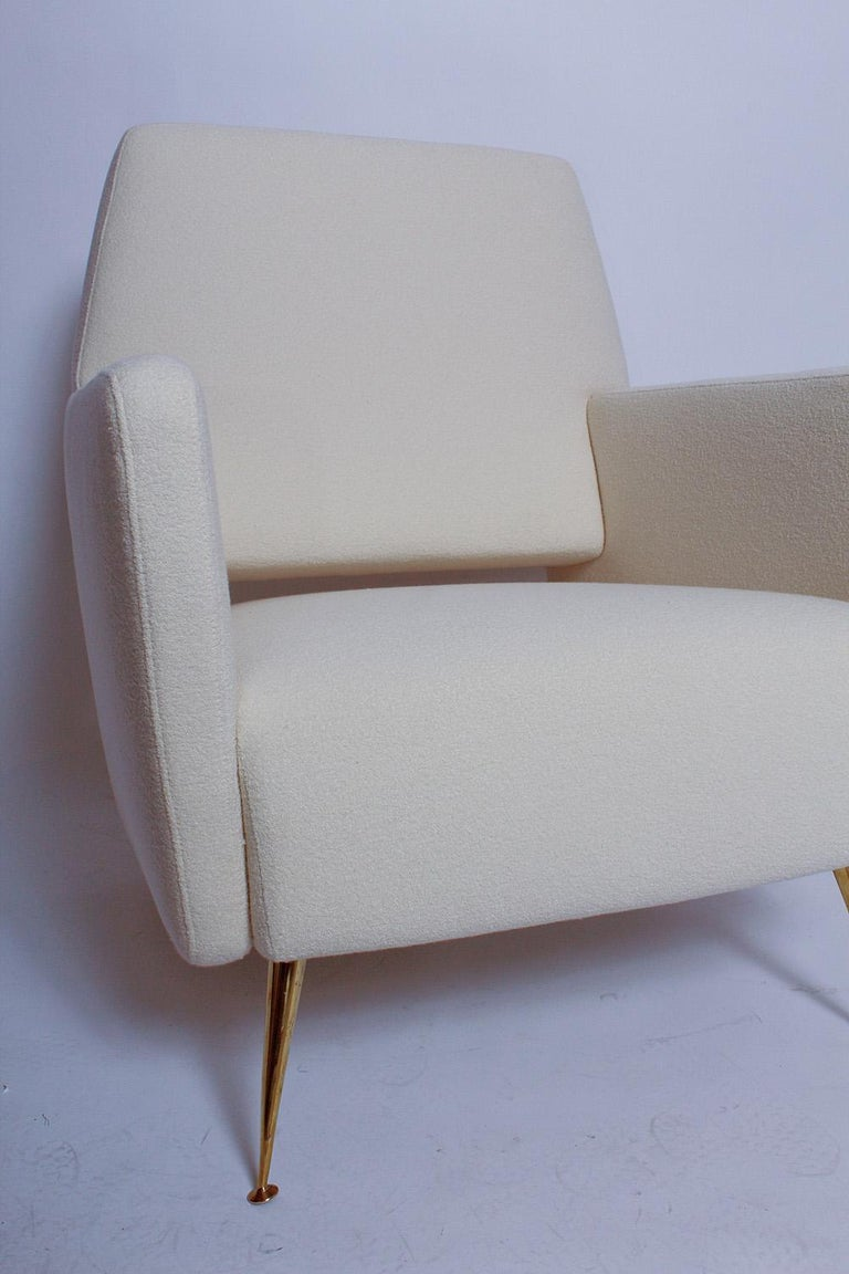 Polished Pair of Fully Restored 1950s Italian Lounge Chairs For Sale