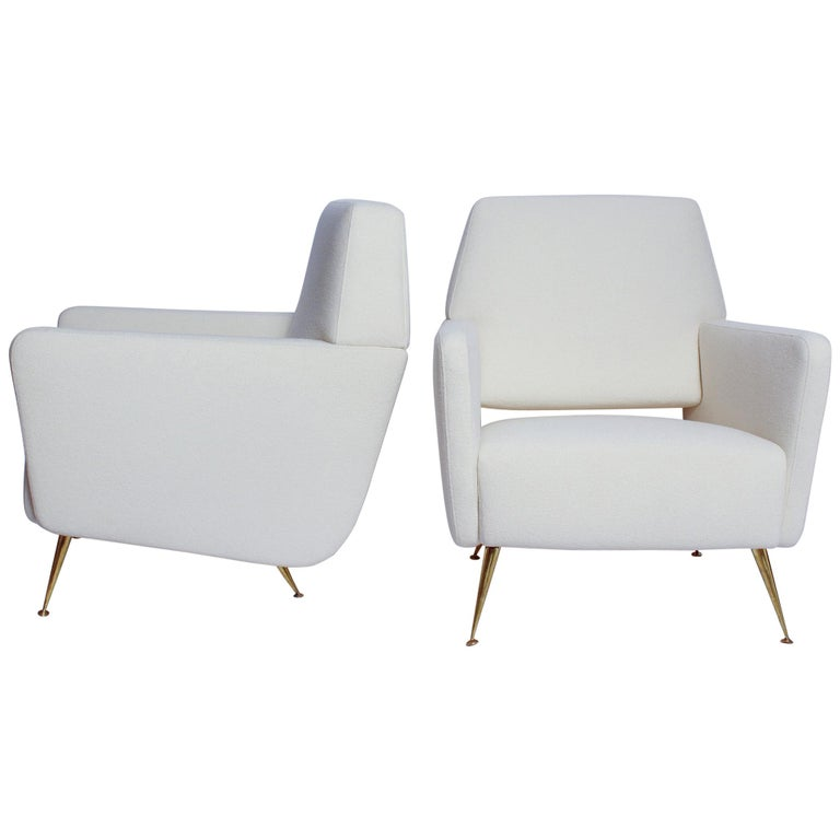 Pair of Fully Restored 1950s Italian Lounge Chairs For Sale