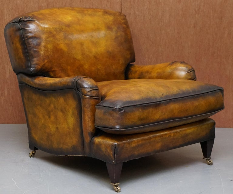 Pair of Fully Restored Howard & Son's Bridgewater Whisky Brown Leather Armchairs For Sale 5