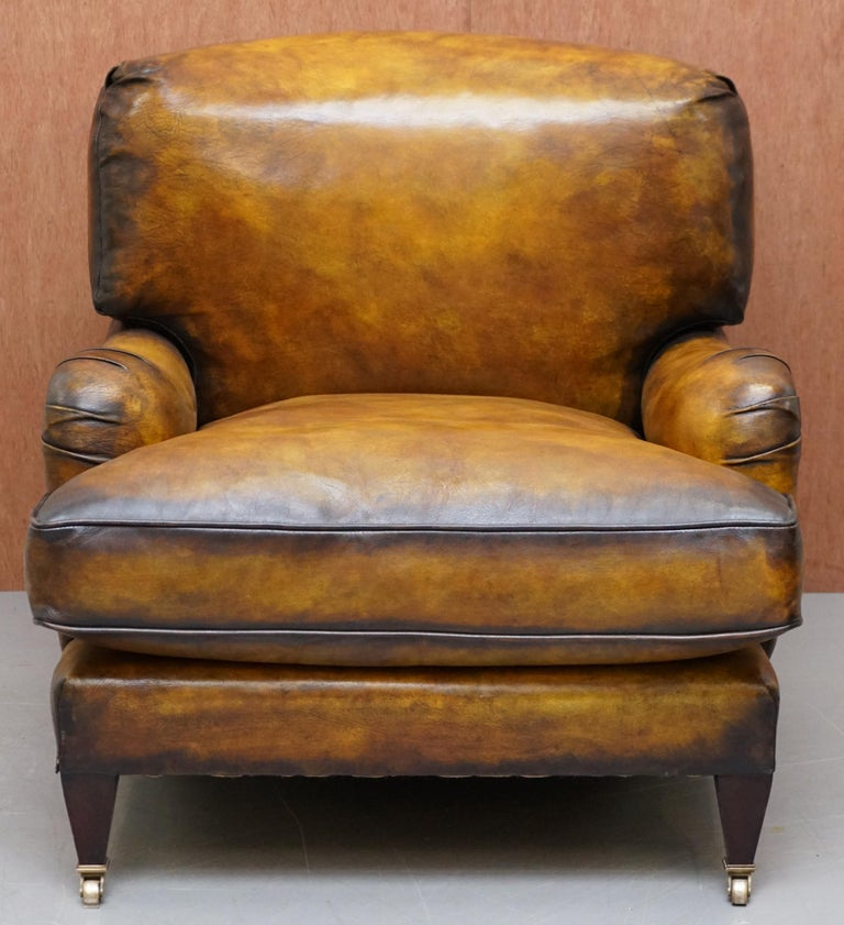 Pair of Fully Restored Howard & Son's Bridgewater Whisky Brown Leather Armchairs For Sale 6