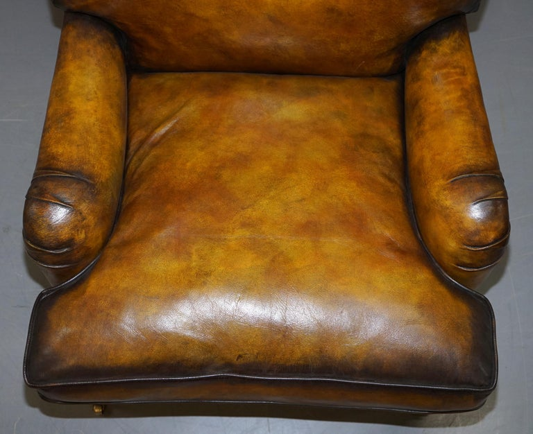 Pair of Fully Restored Howard & Son's Bridgewater Whisky Brown Leather Armchairs For Sale 8