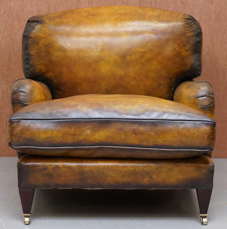 Art Deco Pair of Fully Restored Howard & Son's Bridgewater Whisky Brown Leather Armchairs For Sale