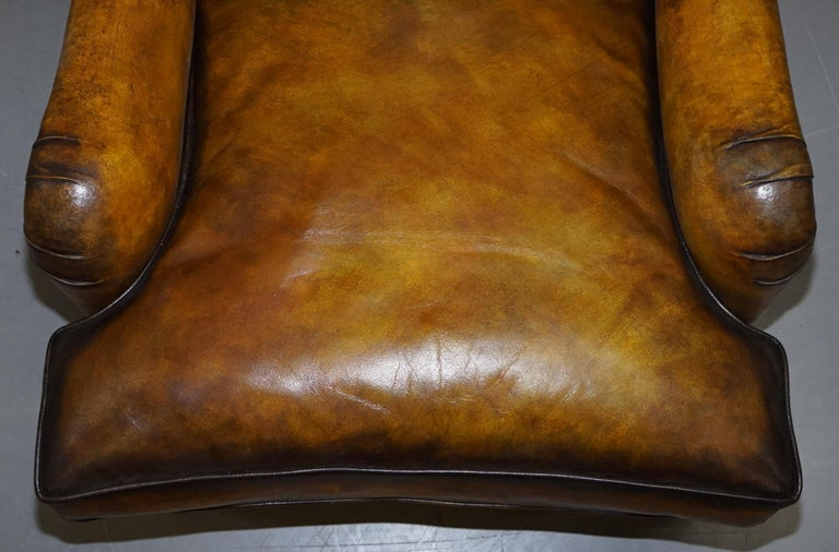 Hand-Crafted Pair of Fully Restored Howard & Son's Bridgewater Whisky Brown Leather Armchairs For Sale